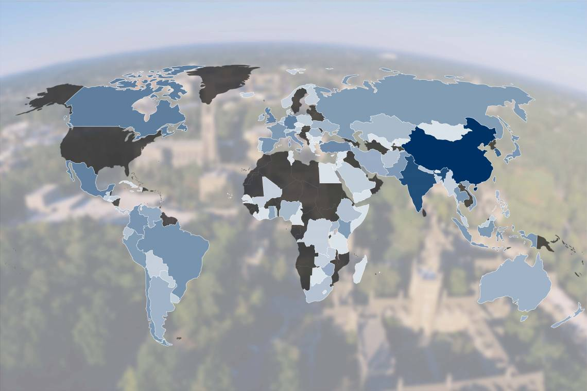 A map illustrates the diversity of countries represented in Duke's international student body. In 2017, Duke welcomed incoming international students from 109 different countries of primary citizenship.