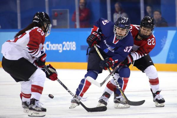 Duke graduate student Randi Griffin scored the first goal the first goal in Korean Olympic hockey history in a game against Japan on Feb. 14. Photo courtesy of the Korean Ice Hockey Association.
