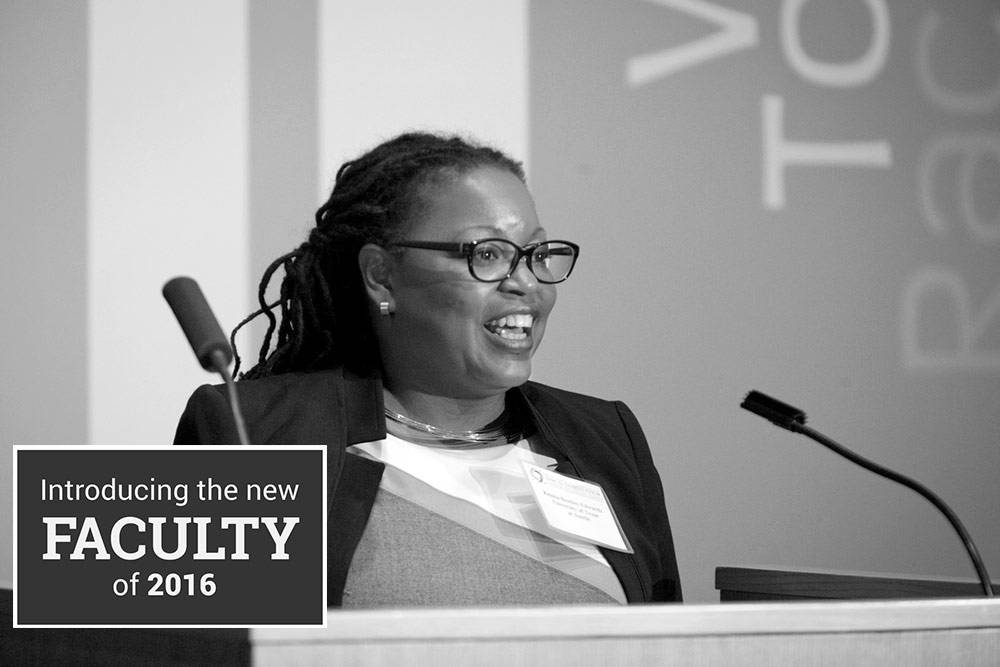 """Keisha L. Bentley-Edwards delivers an address on """"Social Class, Black Racial Cohesion and Dissonance"""" as a part of the Global Inequality Research Initiative Capstone Conference this past November"""