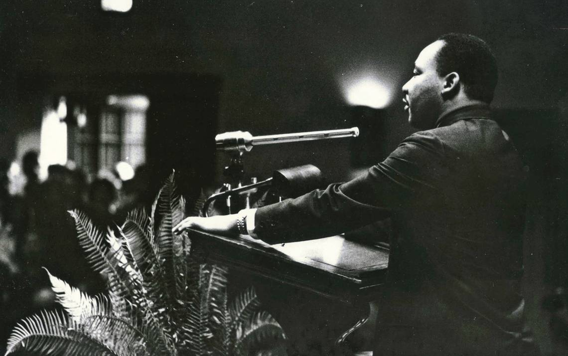The Rev. Martin Luther King Jr. spoke at Duke in 1964, filling Page Auditorium and receiving a standing ovation. The overflow crowd listened outside. Courtesy of Duke University Archives