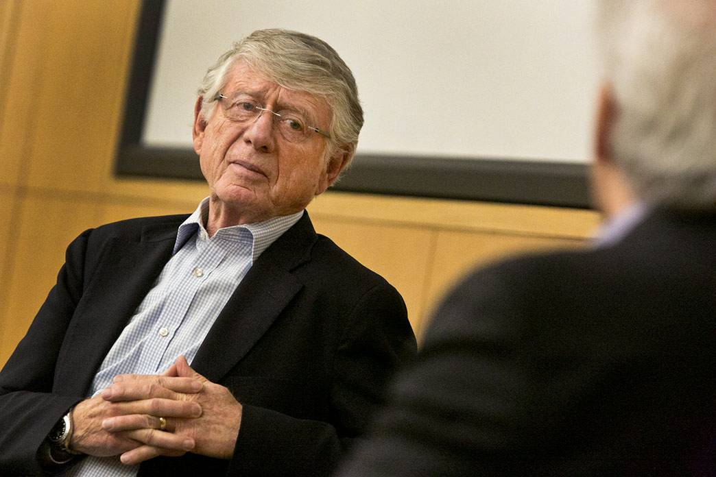 Journalist Ted Koppel gives a dour assessment of the state of journalism during a talk at Duke. Photo by Chris Hildreth/Duke Photography