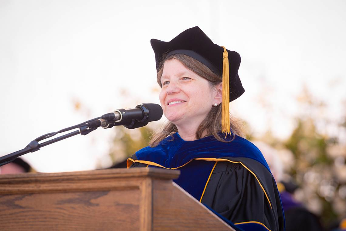 Sally Kornbluth, shown at the 2018 commencement, has served as provost since 2014.