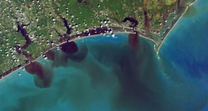 A satellite image of discharge into the ocean following Hurricane Florence.
