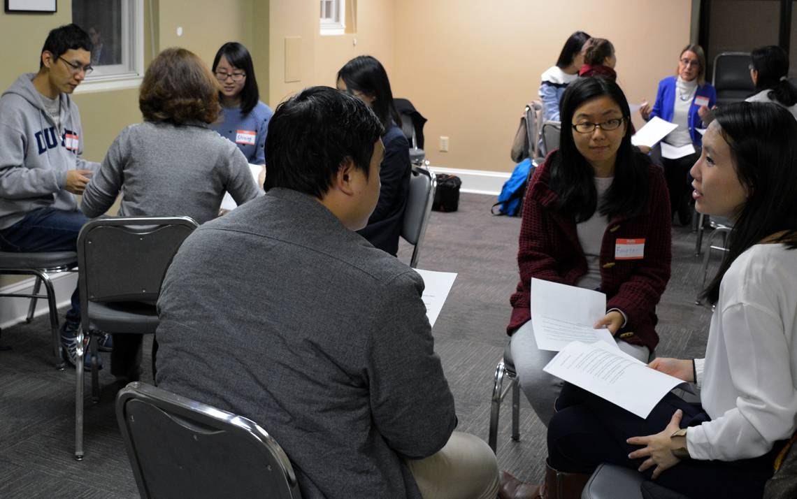 Duke community members gather weekly for language-learning programs, including the English Conversation Club. All meetings are open to students, faculty and staff.