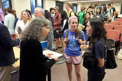 Priscilla Wald talks with students following her lecture to the university class.  Photo by Les Todd/Duke University Photography