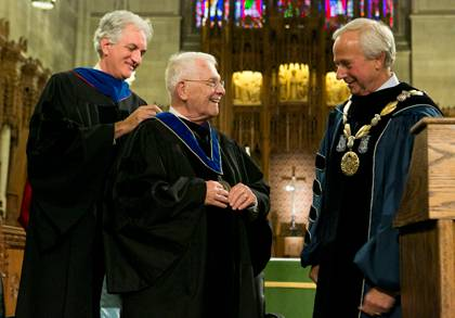 Gerald Wilson is presented the University Medal by Academic Council Chair Josh Socolar while President Richard Brodhead looks on.  Photo by Duke University Photography.