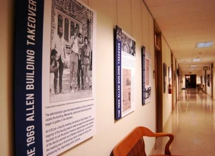 The main hallway of the Allen Building hosts an exhibition about the events of Feb. 13, 1969, when black students barricaded themselves in the building to draw attention to demands for changes to Duke's racial climate. Photo by Marsha A. Green.