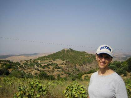 Duke Professor Carla Antonaccio at Morgantina, the ancient Sicilian dig site.