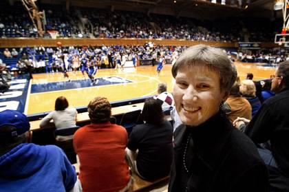 Sue Wasiolek seldom misses a Duke basketball game. Photo by Duke University Photography.