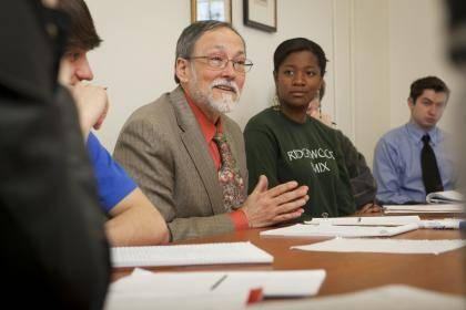 Classics professor Peter Burian talks to students in his Roman civilization class. Photo by Les Todd, Duke Photography