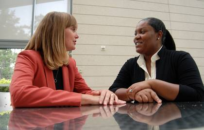 Wanda Hall, right, conducted an informational interview with Laura Grisham, left, to learn more about the pros and cons of a career in event management. Photo by Marsha A. Green.