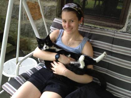 Emma Wellbaum, with a feline friend, is getting a strong background in lemur research.