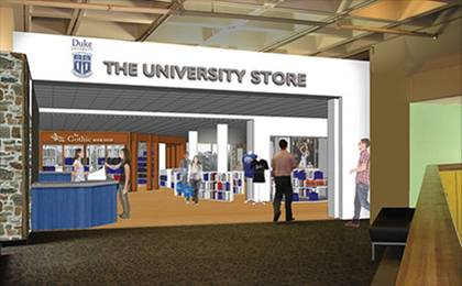 This is an architectural rendering of the shared entrance and cash register space for the University Store, Gothic Bookshop and Lobby Shop in the Bryan Center.
