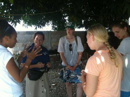 Haiti Lab affiliate Kathy Walmer, second from left, and students from Duke's Haiti Lab during a 2010 research trip to the Johanniter International Assistance Center in Leogane, Haiti. Photo Courtesy of Deborah Jenson