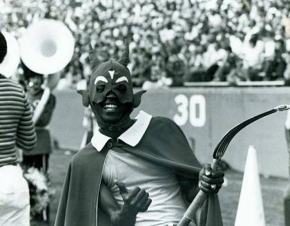 Michael Holyfield, Duke's first black Blue Devil mascot, wore a Batman-like mask.