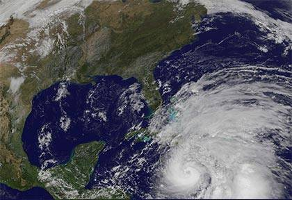 Duke has precautions in place when faced with potential severe weather, like when Hurricane Sandy passed North Carolina. Photo courtesy of the National Weather Service.