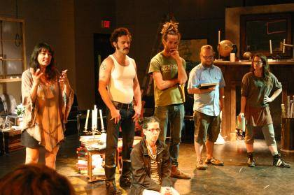 Co-Producing Artistic Director Shawn Sides and the Rude Mechs address Jeff Storer's Advanced Acting class on the set of Now Now Oh Now (L-R: Shawn Sides, Jason Liebrecht, Lana Lesley (seated), Thomas Graves, Robert Fisher, Hannah Kenah). Photo by Eric