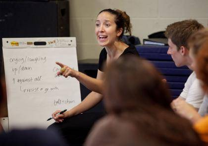 Physical theater performer Kali Quinn talks with Duke students during a recent workshop on campus.