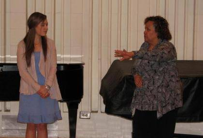 Louise Toppin, right, gives some advice to Duke music student Natalie Ritchie.
