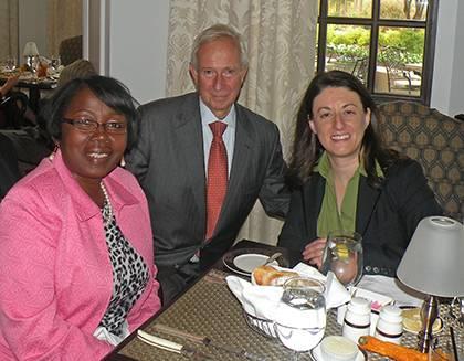 Ruby Thompkins, left, President Richard H. Brodhead and Jackie Gottlieb at the Washington Duke Inn.  Photo courtesy of Jackie Gottlieb.