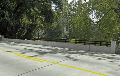 This is a rendering of what the completed bridge will look like over Campus Drive. The bridge is part of West Main Street and runs over Campus Drive, the main artery connecting East and West campuses. Image courtesy of North Carolina Department of Transp