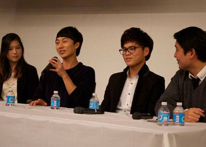 Jeongho Kim, second from left, discusses his experiences growing up in North Korea. Photo by Anamika Saha.