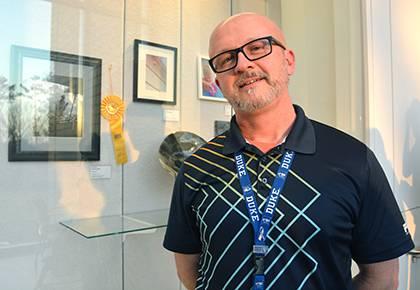 Duke informatics educator Michael Palko won the 37th Duke Employee Art Show's