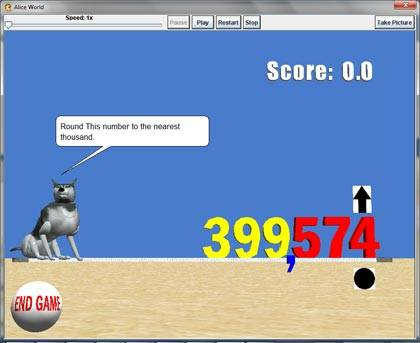 Snapshot of an interactive math Alice world designed for fifth grade students to practice rounding numbers.