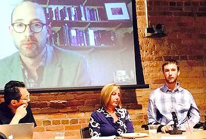 Jay Ruckelshaus,far right, an advocate for people with disabilities, speaks on a panel on health and the humanities. Other panelists include N.C. State's Tsai Lu Liu, left, Duke's Leigh Fickling, center, and Harvard's Todd Carmody on screen. Photo by Eri