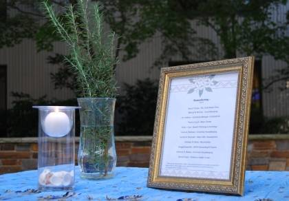 Candles and rosemary, the herb of remembrance, were placed near the list of staff honored at the memorial service held in November 2011. Photo by Marsha A. Green.