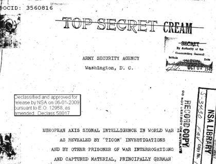 This is a declassified, World War II-era National Security Agency memo on Axis intelligence gathering methods
