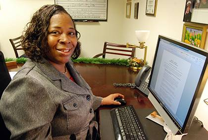 Veronica Whitley has advanced in her career at Duke from lead food services worker to office staff assistant. Photo by Marsha Green.