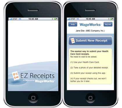 EZ Receipts, the new mobile app from WageWorks, allows users to take photos of receipts on their mobile device and upload them to WageWorks.