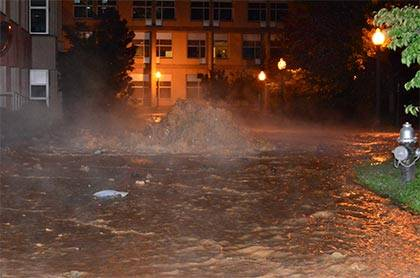 A water main burst outside the LSRC building early Friday morning. Photo by Doug Hayes.