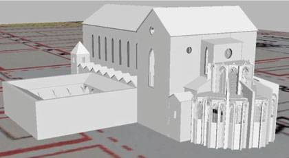 Duke's Wired! lab's reconstruction of the San Lorenzo Maggiore in Naples. Image courtesy Duke department of Art, Art History and Visual Studies