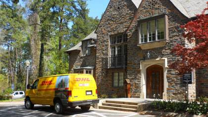 A van waits to transport acceptance letters to students admitted to Duke's Class of 2016