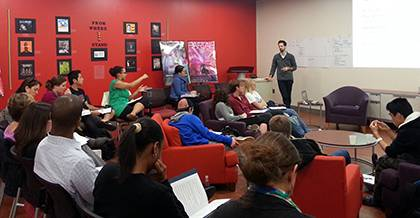 Nick Antonicci (standing in front), assistant director of Duke's Center for Sexual and Gender Diversity, leads an ally training workshop last year. Photo by April Dudash