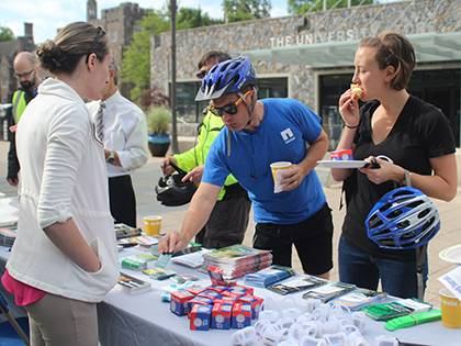 Duke hosted an appreciation breakfast May 16 for campus bike commuters. The event was part of National Bike Month. Photo by Alexandria Sampson