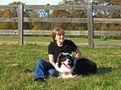 Melissa Pascoe isn't the only one her household to come to Duke. She once enrolled her Australian shepherd Bruce in a research study at the Duke Canine Cognition Center. Photo courtesy of Melissa Pascoe.