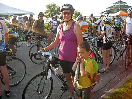 Brandi Tuttle with her son Lincoln at the beginning of a 150-mile, two-day bike ride to raise money for multiple sclerosis.  Photo courtesy of Brandi Tuttle