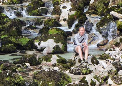 Sara Childs at the Savica River near Lake Bohinj, Slovenia during her honeymoon. Photo courtesy of Sarah Childs.