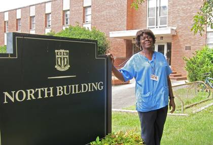 Velvlyn Mayhue knows every nook and cranny of the North Building after being a housekeeper there for 20 years. Photo by Marsha A. Green.