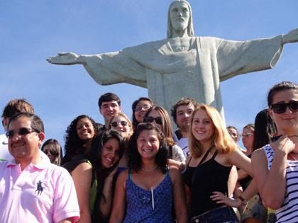 Duke students at Corcovado during Duke in Brazil 2013.  Photo by Magda Silva