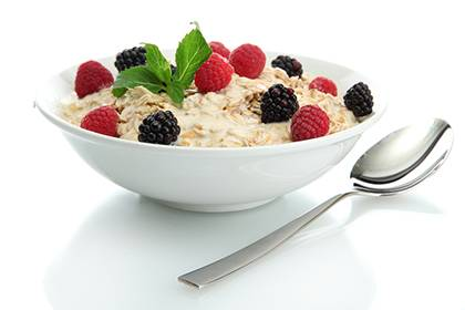 A bowl of oatmeal is just one suggested way to begin each day with a healthy meal, said Esther Granville, nutrition program manager for LIVE FOR LIFE, Duke's employee wellness program.