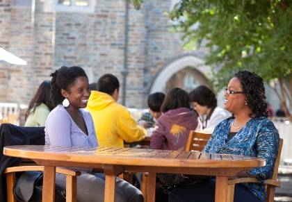 Janeka Jenkins, left, meets regularly with her mentor, Kennedine Mack, right, to discuss everything from work/life balance to career opportunities at Duke. Photo by Duke Photography.