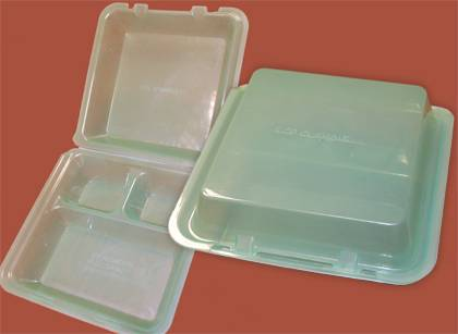 The eco-clamshell container can be used at several Duke eateries. Students for Sustainable Living is giving away 15 for free each Thursday this semester.