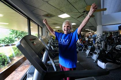 The Rev. Joann Turner, a retired pastor in the North Carolina Conference of the United Methodist Church living in Goldsboro hits the gym. Photo by Donn Young.
