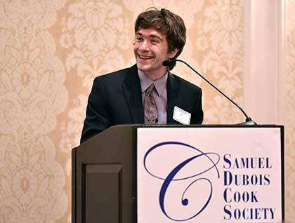 Kari Barclay receives a Cook Society Award for his theater work at Duke and in the community. Photos by Grant Halverson