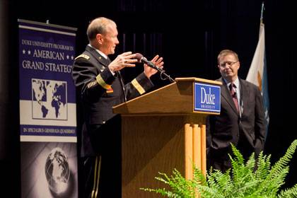 Gen. Martin E. Dempsey takes a question during his talk Thursday at Page Auditorium.  Professor Peter Feaver looks on.  Photo by Les Todd.