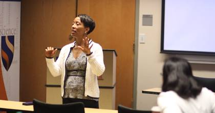 Duke Professor Rhonda Sharpe talks to young economists during a DITE session.  Photo by Jonathan Alexander